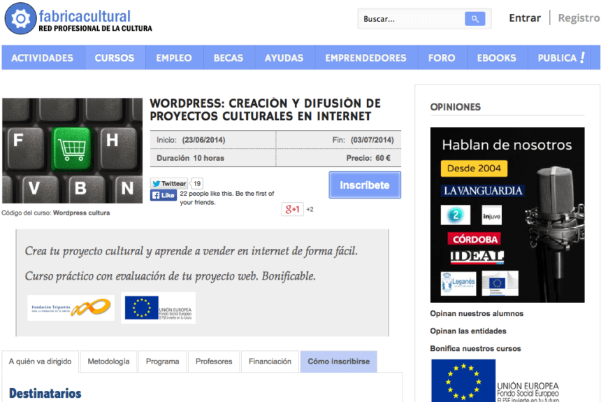 WordPress: creación y difusión de proyectos culturales en internet